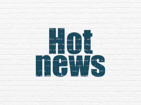 hot news: News concept: Painted blue text Hot News on White Brick wall background