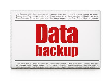 newspaper headline: Information concept: newspaper headline Data Backup on White background, 3d render Stock Photo
