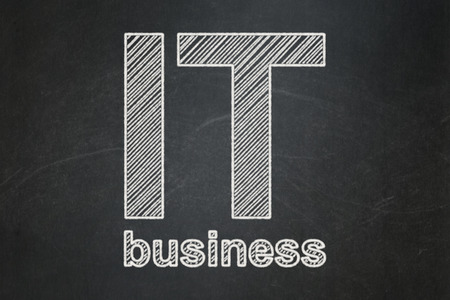 Finance concept: text IT Business on Black chalkboard background