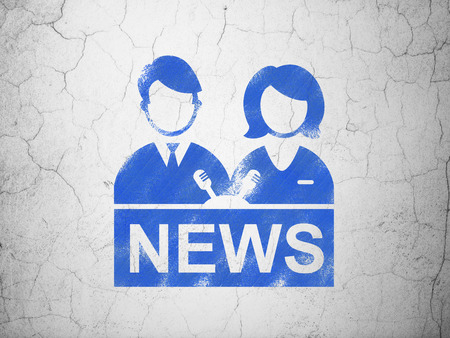 anchorman: News concept: Blue Anchorman on textured concrete wall background