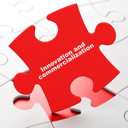 commercialization: Science concept: Innovation And Commercialization on Red puzzle pieces background, 3d render Stock Photo