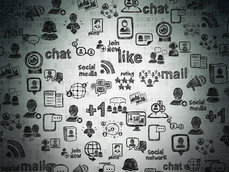 Digital background: Digital Paper texture with  Black doodle  Hand Drawn Social Network Icons Stock Photo