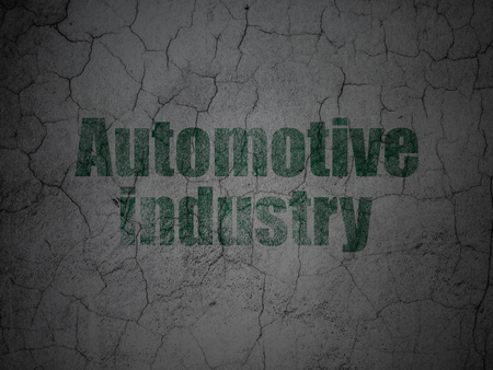 automotive industry: Manufacuring concept: Green Automotive Industry on grunge textured concrete wall background Stock Photo