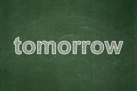 Concepto de línea de tiempo: Mañana de texto en el fondo verde de la pizarra Foto de archivo
