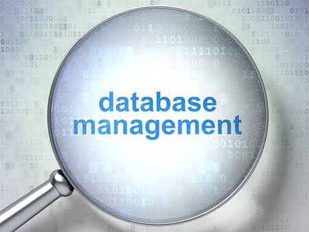 database management: Software concept: magnifying optical glass with words Database Management on digital background