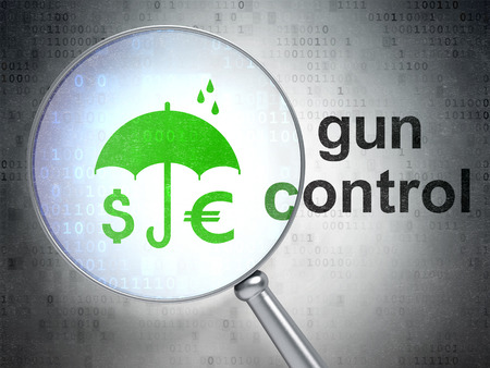 gun control: Privacy concept: magnifying optical glass with Money And Umbrella icon and Gun Control word on digital background