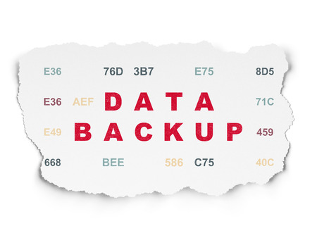 hexadecimal: Data concept: Painted red text Data Backup on Torn Paper background with  Hexadecimal Code Stock Photo