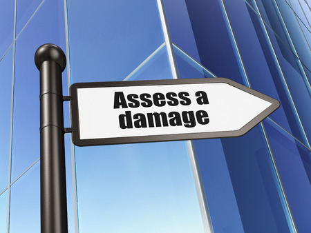 to assess: Insurance concept: sign Assess A Damage on Building background, 3d render