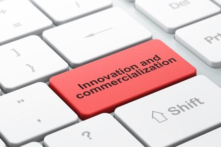 commercialization: Science concept: computer keyboard with word Innovation And Commercialization, selected focus on enter button background, 3d render