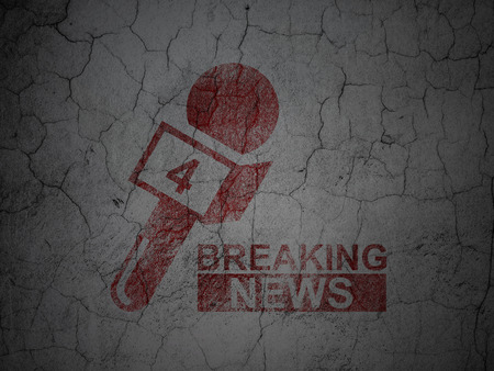 talk show: News concept: Red Breaking News And Microphone on grunge textured concrete wall background
