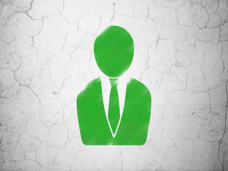 cement court: Law concept: Green Business Man on textured concrete wall background Stock Photo