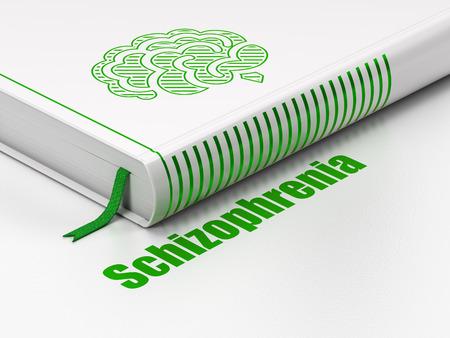esquizofrenia: el concepto de salud: Libro cerrado con el icono del cerebro verde y el texto esquizofrenia en el piso, fondo blanco, 3d Foto de archivo