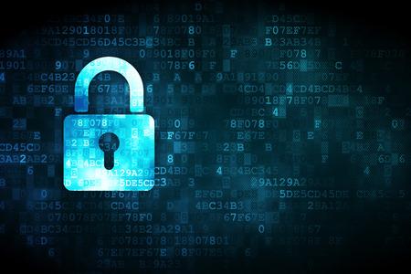 concept de protection: pixélisé fermé icône Cadenas sur fond numérique, copyspace vide pour la carte, le texte, la publicité