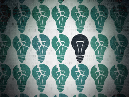 broken strategy: Finance concept: rows of Painted blue light bulb icons around black light bulb icon on Digital Paper background Stock Photo