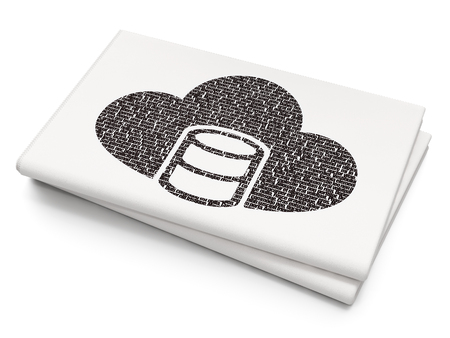 database: Software concept: Pixelated black Database With Cloud icon on Blank Newspaper background