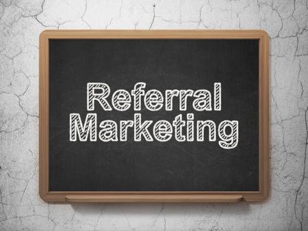 referral marketing: Marketing concept: text Referral Marketing on Black chalkboard on grunge wall background