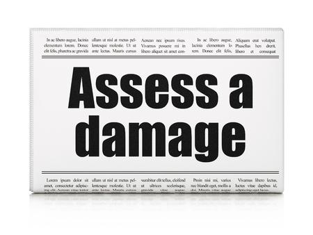 assess: Insurance concept: newspaper headline Assess A Damage on White background, 3d render Stock Photo