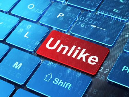 teclado de computadora: concepto de medios de comunicación social: Teclado de ordenador con la palabra A diferencia de fondo entra en el botón, 3d Foto de archivo