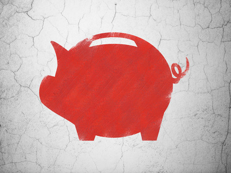 money box: Currency concept: Red Money Box on textured concrete wall background Stock Photo