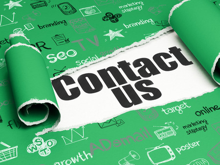 advertise with us: Marketing concept: black text Contact Us under the curled piece of Green torn paper with  Hand Drawn Marketing Icons