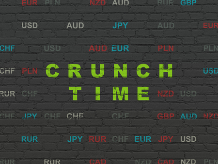 crunch: Business concept: Painted green text Crunch Time on Black Brick wall background with Currency