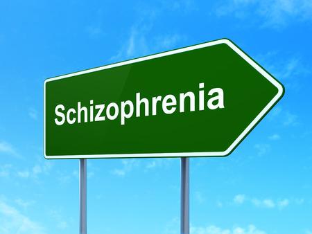esquizofrenia: Concepto de la salud: La esquizofrenia en la muestra de la carretera camino verde, el cielo claro de fondo azul, 3d