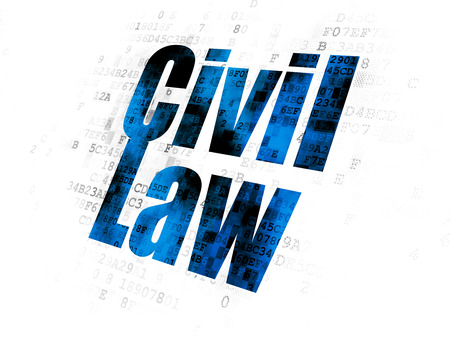 data protection act: Law concept: Pixelated blue text Civil Law on Digital background