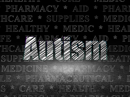 dirty room: Medicine concept: Glowing text Autism in grunge dark room with Dirty Floor, black background with  Tag Cloud
