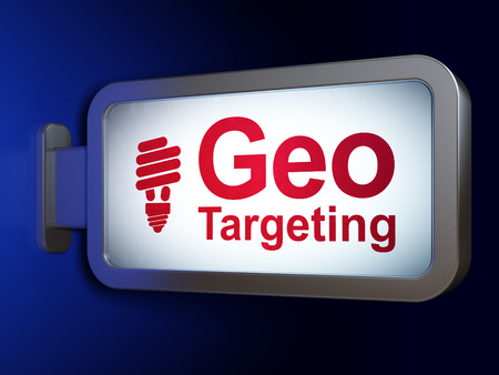 targeting: Business concept: Geo Targeting and Energy Saving Lamp on advertising billboard background, 3d render Stock Photo