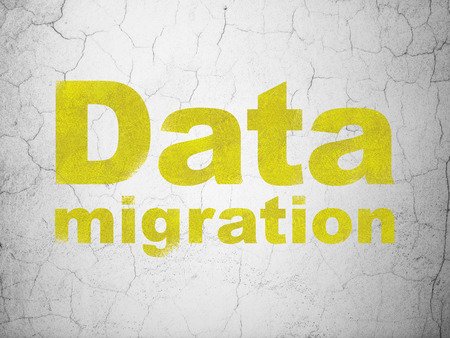 migrating: Data concept: Yellow Data Migration on textured concrete wall background