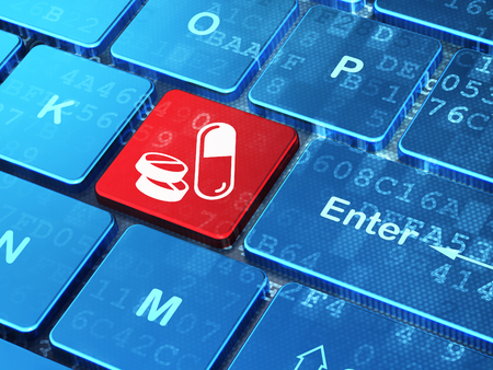 keyboard key: Medicine concept: computer keyboard with Pills icon on enter button background, 3d render Stock Photo