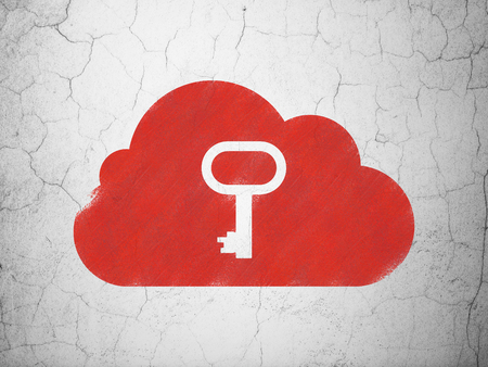 wall cloud: Cloud technology concept: Red Cloud With Key on textured concrete wall background