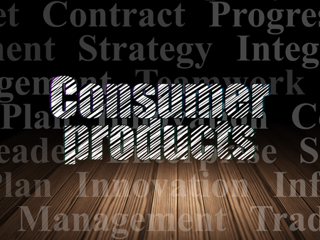 consumer products: Finance concept: Glowing text Consumer Products in grunge dark room with Wooden Floor, black background with  Tag Cloud