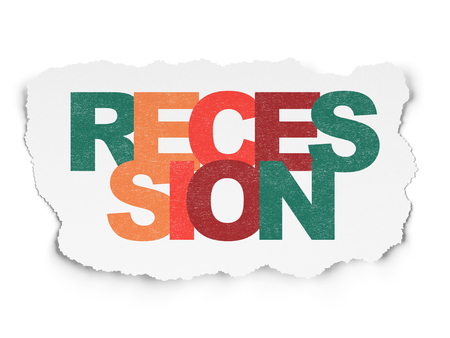 recession: Finance concept: Painted multicolor text Recession on Torn Paper background