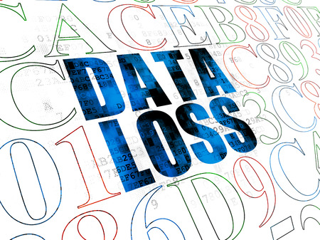 data loss: Information concept: Pixelated blue text Data Loss on Digital wall background with Hexadecimal Code
