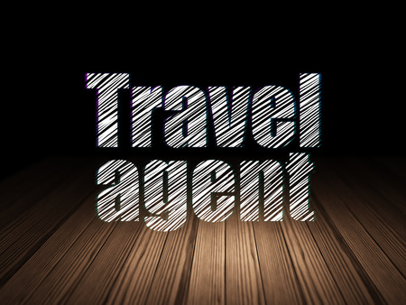 travel agent: Travel concept: Glowing text Travel Agent in grunge dark room with Wooden Floor, black background