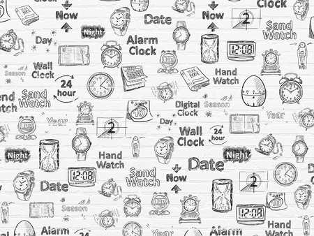 yearbook: Grunge background: White Brick wall texture with  Black doodle  Hand Drawing Time Icons