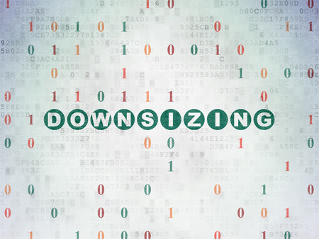 downsizing: Business concept: Painted green text Downsizing on Digital Paper background with Binary Code