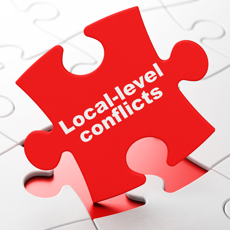 brainteaser: Politics concept: Local-level Conflicts on Red puzzle pieces background, 3d render