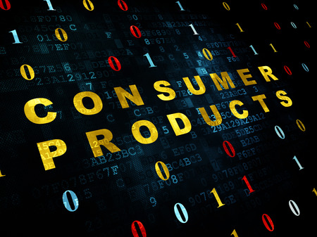 consumer products: Finance concept: Pixelated yellow text Consumer Products on Digital wall background with Binary Code