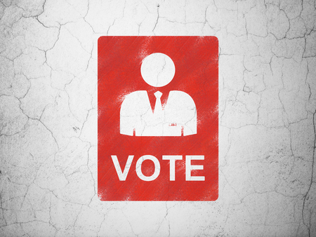 dictatorship: Politics concept: Red Ballot on textured concrete wall background Stock Photo