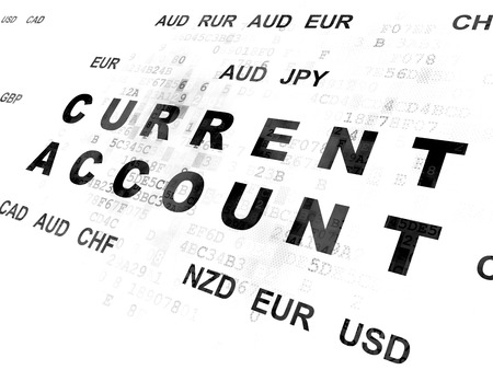 current account: Banking concept: Pixelated black text Current Account on Digital wall background with Currency
