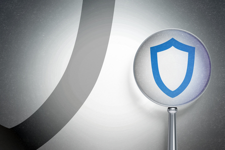 contoured: Protection concept: magnifying optical glass with Contoured Shield icon on digital background, empty copyspace for card, text, advertising