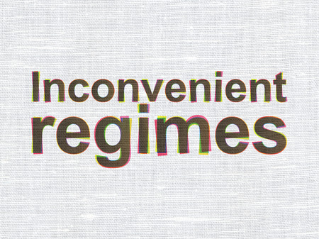 inconvenient: Politics concept: CMYK Inconvenient Regimes on linen fabric texture background Stock Photo