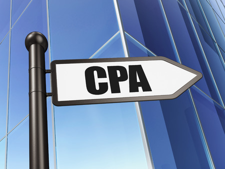 cpa: Finance concept: sign CPA on Building background, 3d render Stock Photo