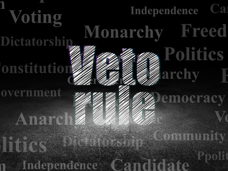 veto: Politics concept: Glowing text Veto Rule in grunge dark room with Dirty Floor, black background with  Tag Cloud