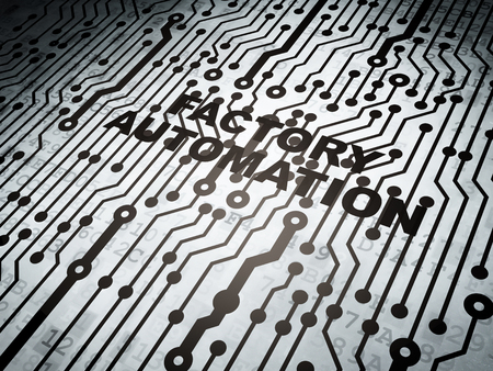 factory automation: Industry concept: circuit board with  word Factory Automation, 3d render