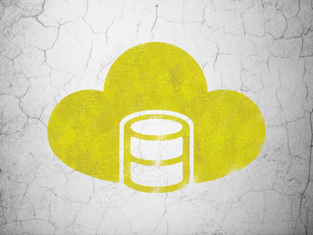 wall cloud: Database concept: Yellow Database With Cloud on textured concrete wall background Stock Photo
