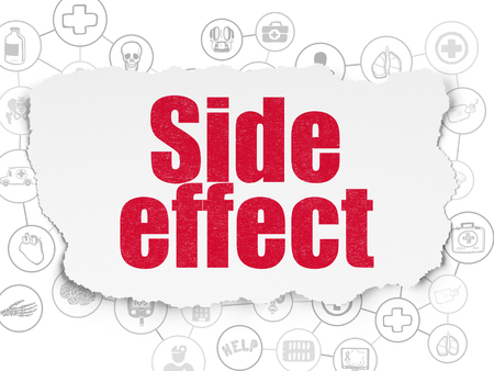 side effect: Healthcare concept: Painted red text Side Effect on Torn Paper background with Scheme Of Hand Drawn Medicine Icons Stock Photo