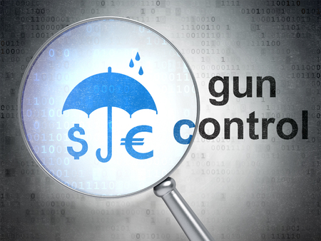 gun control: Security concept: magnifying optical glass with Money And Umbrella icon and Gun Control word on digital background